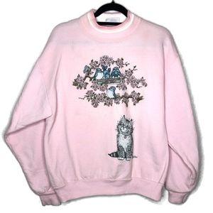 VTG Cat Bird Cherry Blossom Fairy Kei Sweater
